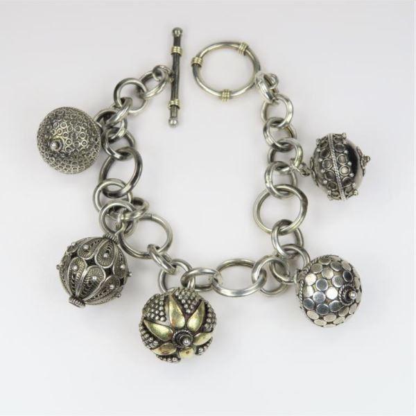 Chic BOHO Sterling Silver Charm Bracelet
