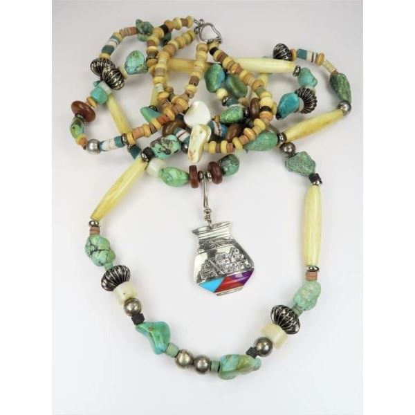 Turquoise, Agate and Sterling Silver Necklace
