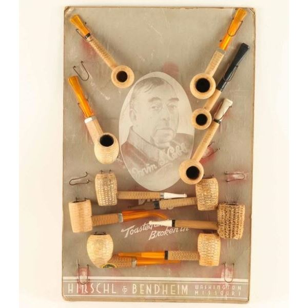 Store Display with Antique Corn Cobb Pipes