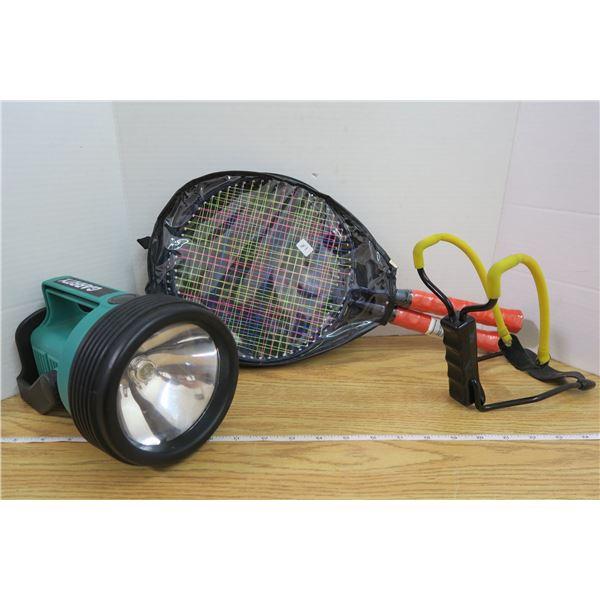 Slingshot, 2 Rackets, and Flashlight