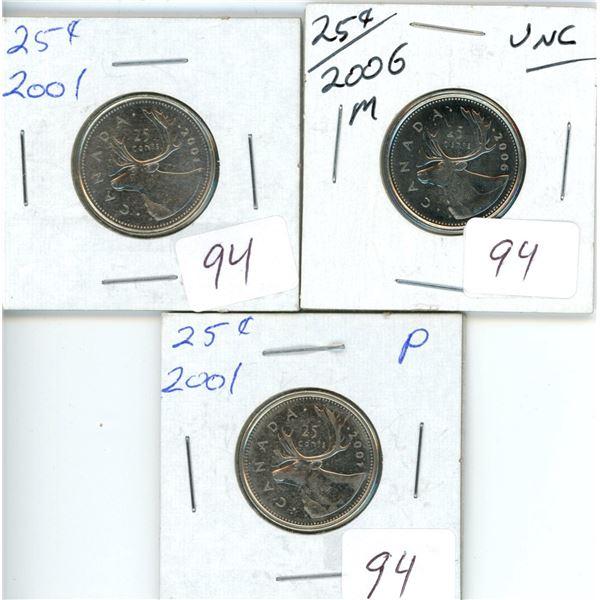 3 Canadian 25¢ - 2001 'P', 2001 no 'P', 2006 unc 25¢
