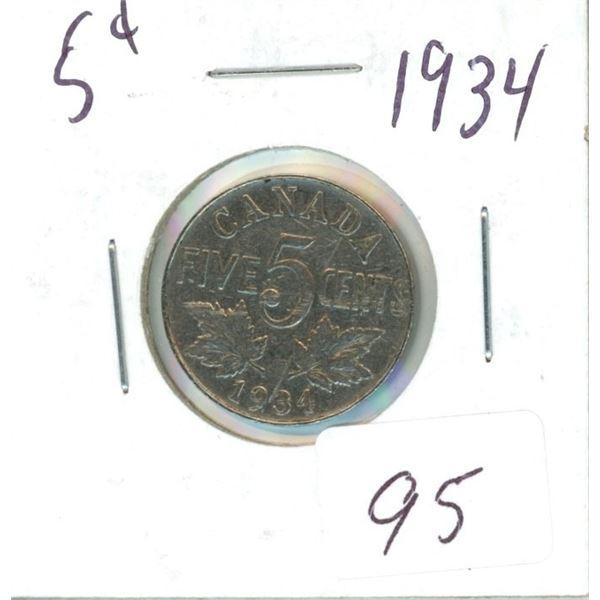 1934 Canadian 5¢