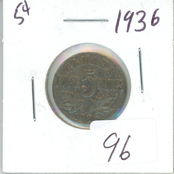 1936 Canadian 5¢