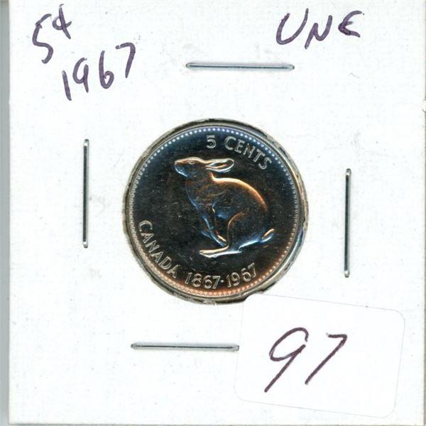 1967 Canadian 5¢ unc