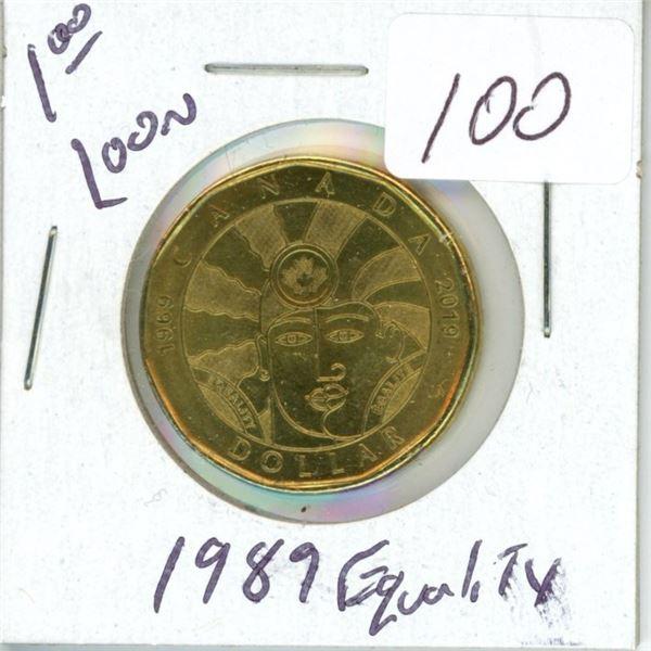 1989 Canadian $1.00 loonie