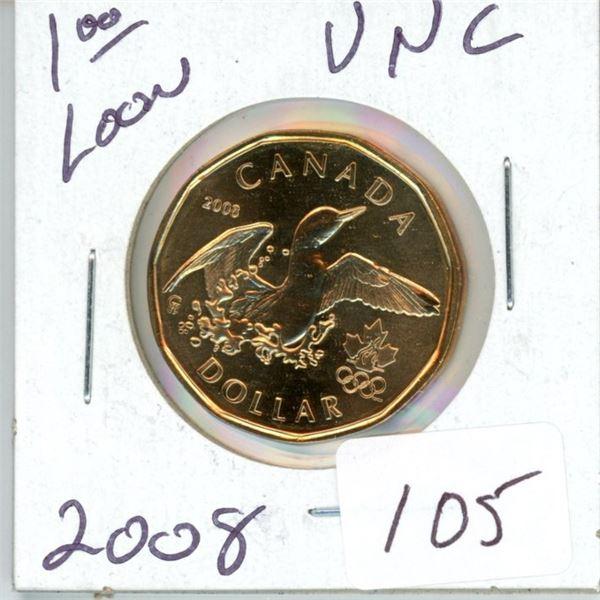 2008 Canadian $1.00 unc