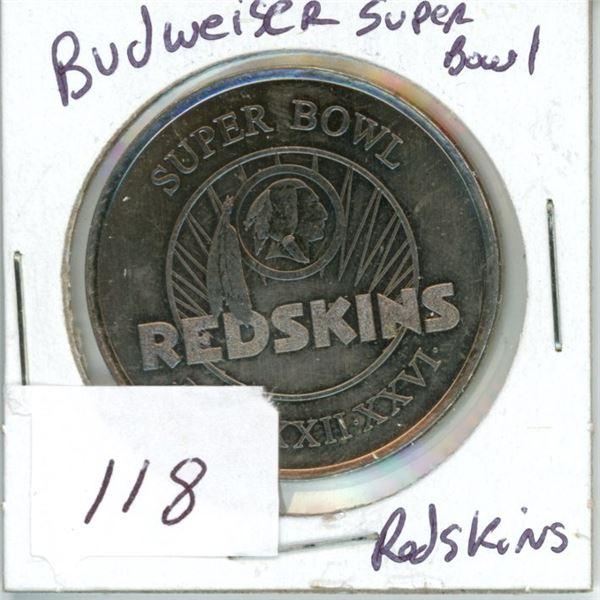 NFL Budweiser token Superbowl Redskins