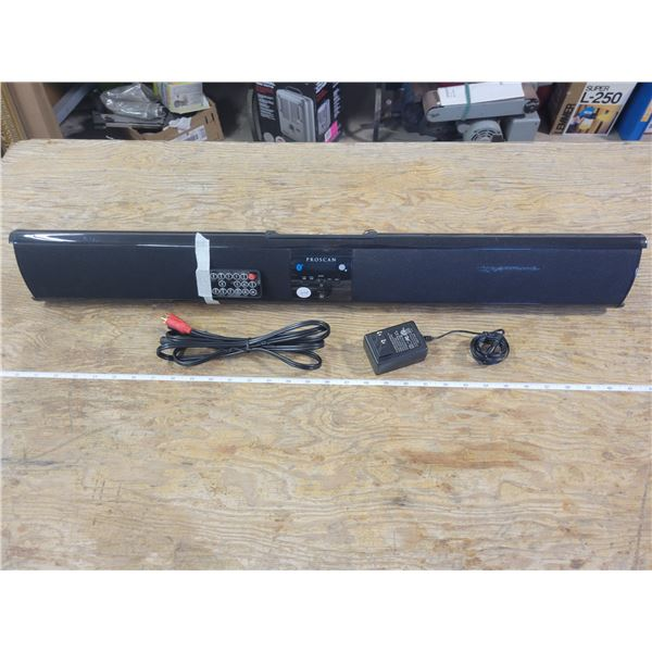 Proscan Sound Bar with AM/FM radio complete with Audio Cables (like new) and remote