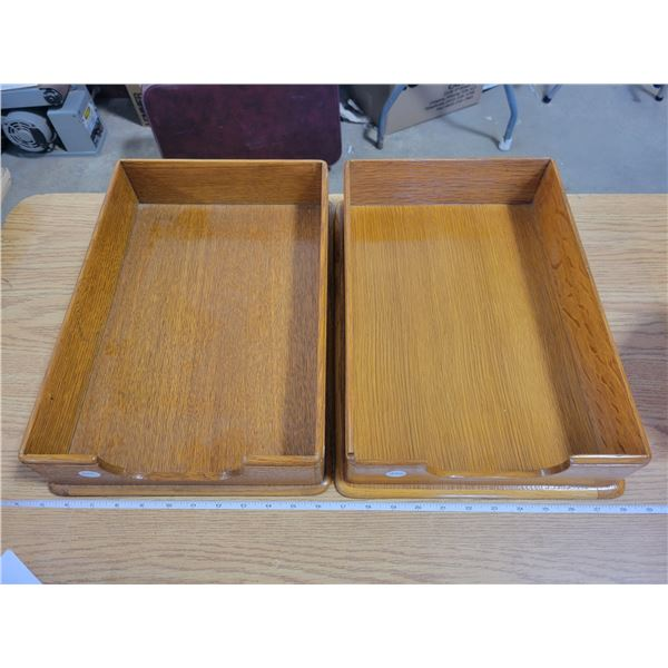 2 large - Banker's wooden IN/OUT  correspondence trays