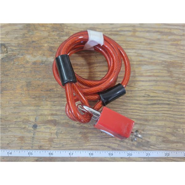 1/4 inch - 6 foot plastic coded steel bicycle anti theft cable & lock