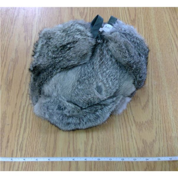 Rabbit Hair -  Nylon lined Winter Hat with ear flaps (when untied) - extremely warm