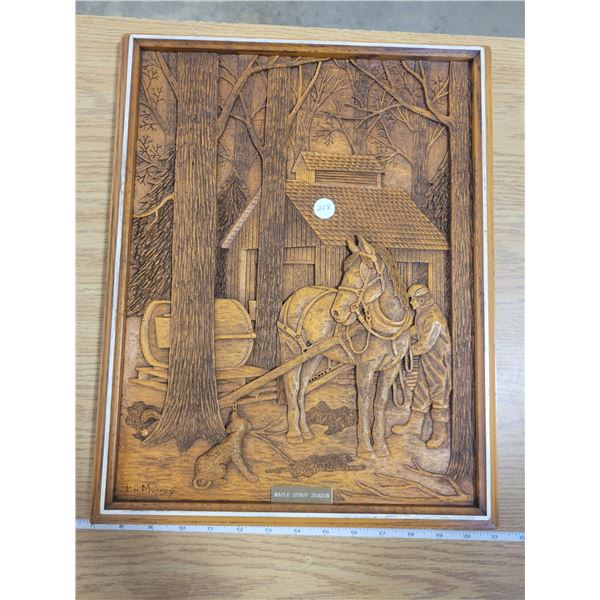 MAPLE SYRUP SEASON - Wood carved picture by Kim Murray