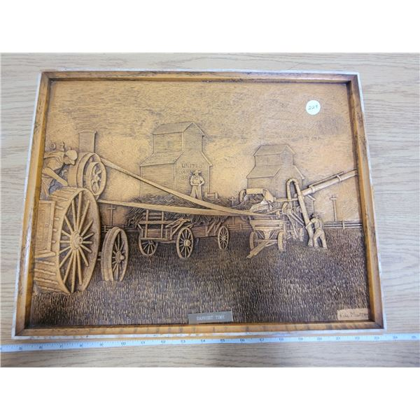 HARVEST TIME - Wooden carved picture by Kim Murray