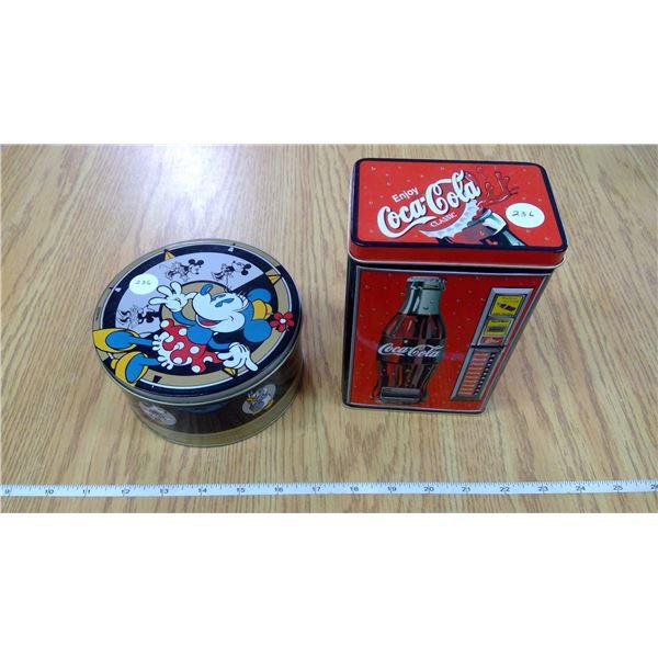 Small Disney Mickey Mouse & Coca-Cola tins