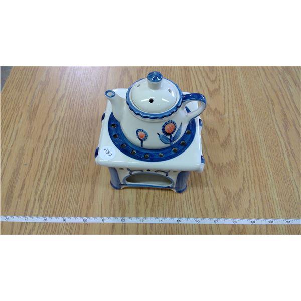 Ordamental glass tea pot & stand