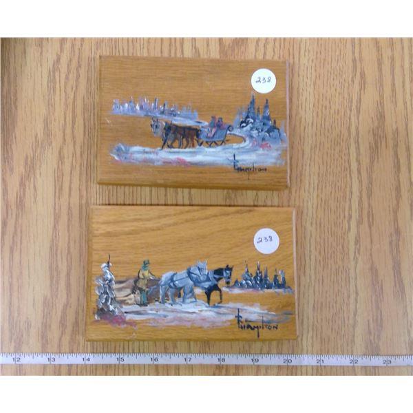 2 - 6 x 4 inch Oil on Oak Wood winter scenes by R. Hamilton