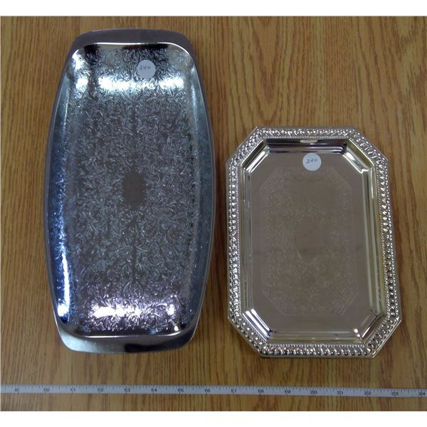 2 Silver colored candy serving trays