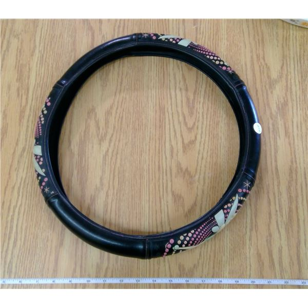 RARE - 15 inch diameter leather TINKER BELL steering wheel cover
