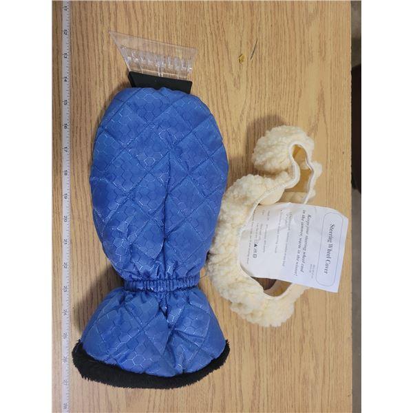 Fleece Steering Wheel cover (stretchable) & Windshield Glove Scraper