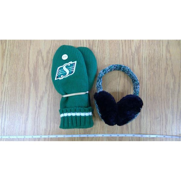 Sask Rider Woolen Mitts & Ear Muffs (Gift-Never Used)