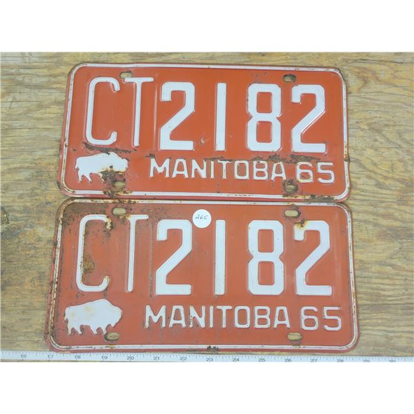 Matching 2 - 1965 Manitoba Licence Plates - CT2182 - Fairly Good Shape
