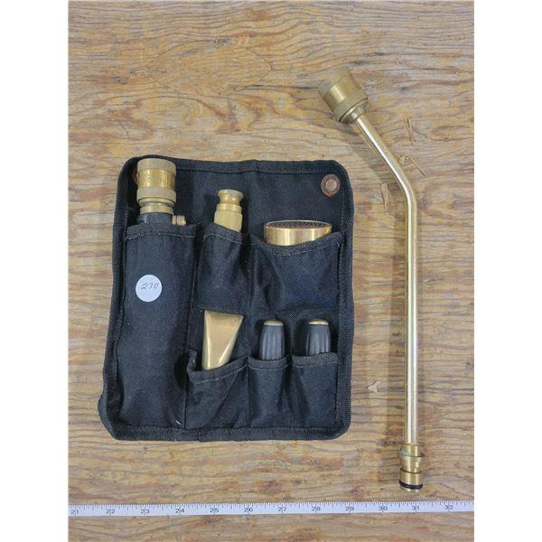 Brass Quick Change Garden Hose Control & (6) attachments - A flower gardener's dream