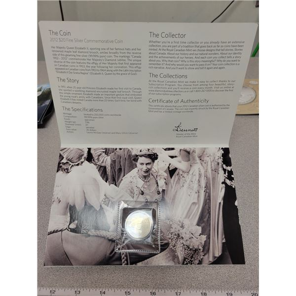 2012 - $20.00 for $20.00 - A Celebration of 60 Years - 7.96g pure silver