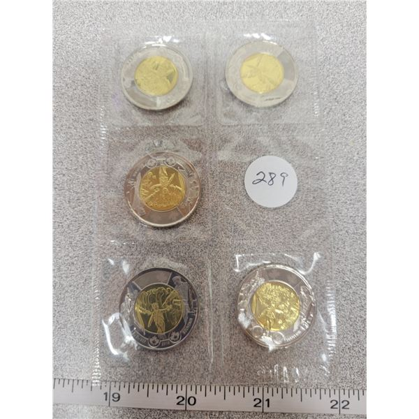 2014 - 5 pack of uncirculated Toonies -Wait for me Daddy