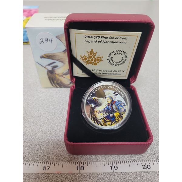 $20.00 - 2014 - Legend of Nanaboozhoo - Colorized - 31.39 Silver Proof
