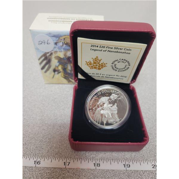 $20.00 - 2014 - Nanaboozhoo & the Thunderbird's Nest - 31.39 Silver Proof