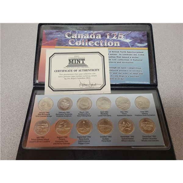 1992 (125th Anniversary) Collection quarters representing each province /territory