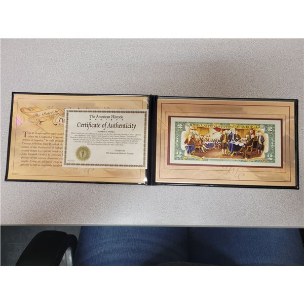 Colorized American Two Dollar Bill with Cert. of Authenticity