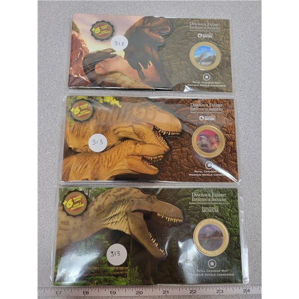 Three Unique 2010 Holographic Dinosaur 50 cent coins & trading cards - All Sealed