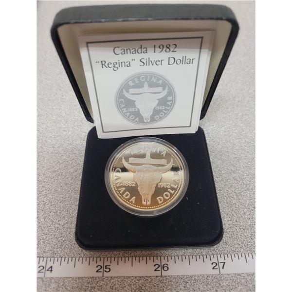 """1982 - """"REGINA"""" Proof Silver Dollar"""