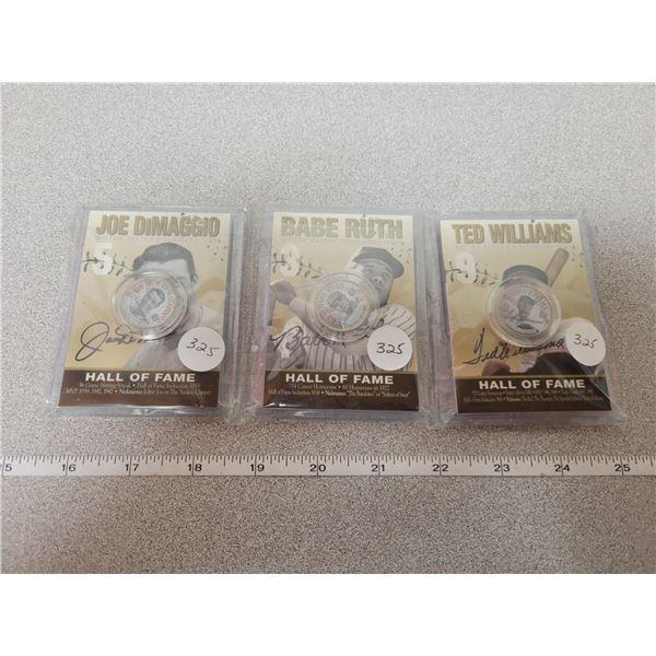 Set of 3 Baseball Hall of Fame Coins (2005)