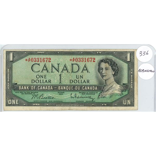 1954 - $1.00 Replacement Note _ AF0331672
