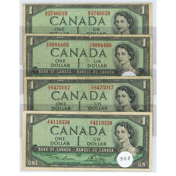 4 - 1954 - $1.00 Notes (3  -Beattie/Rasminski) (1-Lawson/Bouey)