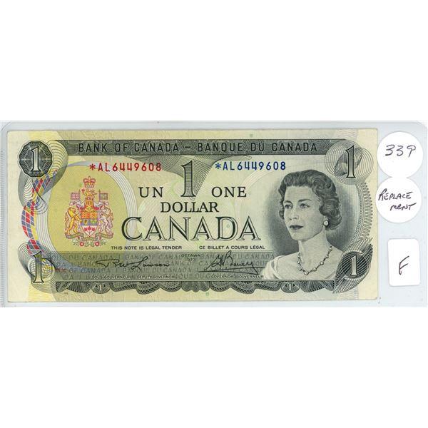 1973 - $1.00 Replacement Note - Lawson/Bouey - *AL6449608 - Fine