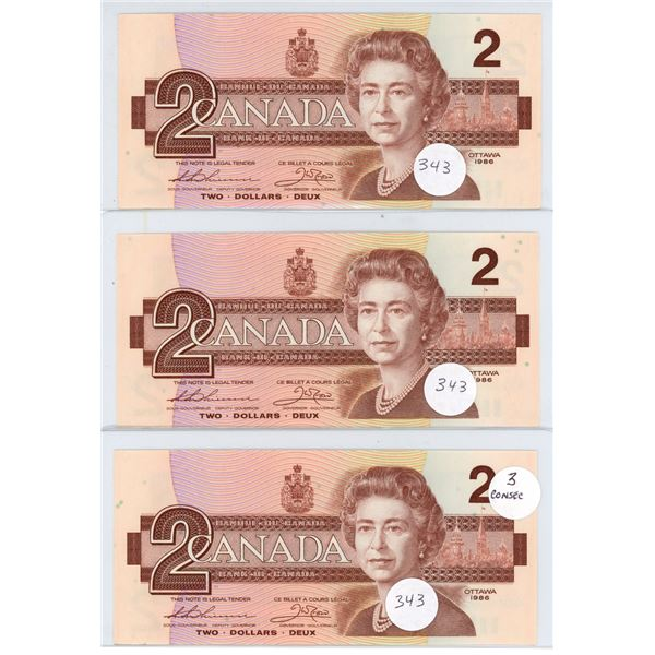 1986 - 3 Consecutive $2.00 Notes EGM7965501-503 - Uncirculated