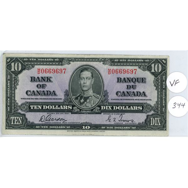 1937 - $10.00 Note - Gordon/Towers -  MD0669697 -VF