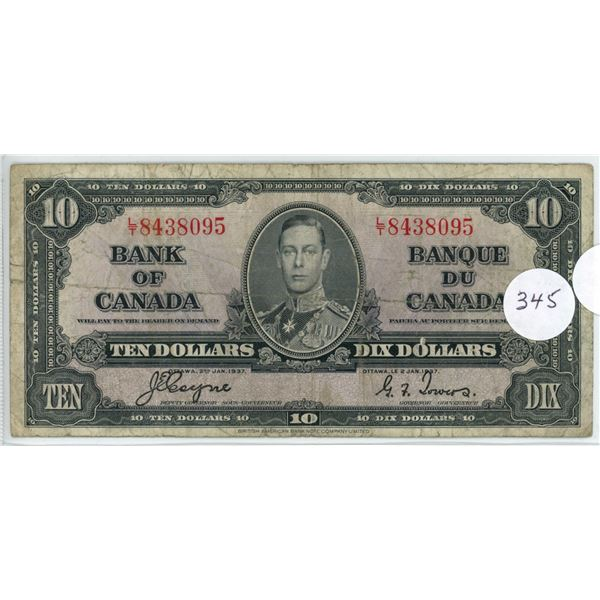 1937 - $10.00 Note - Coyne/Towers - LT8438095 - F