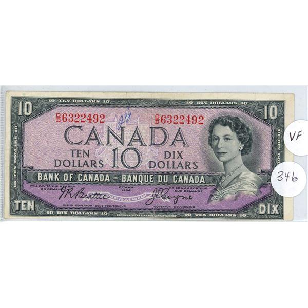 1954 - $10.00 Note - Beattie/Coyne - OD6322492 - VF