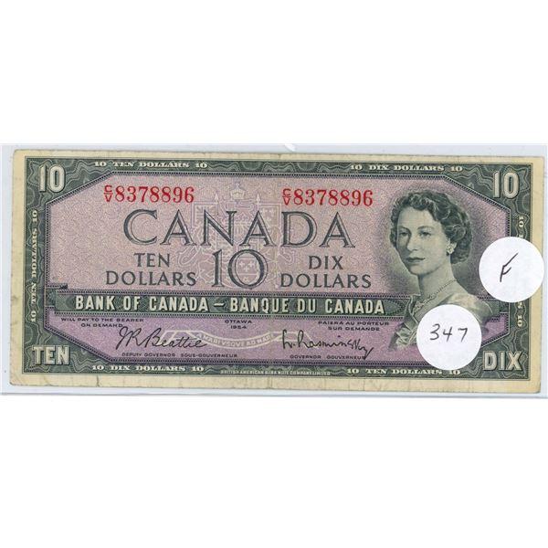 1954 - $10.00 Note - Beattie/Rasminski - CV8378896 - F