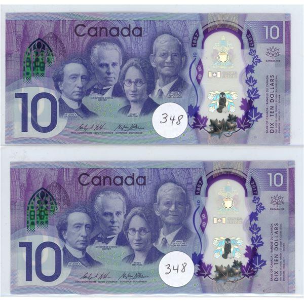 2017 - 2 - $10.00 (150 Year) Notes CDA7198854 & CDE0184155 - VF