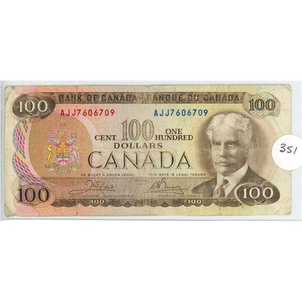 1975 - $100.00 Note - #AJJ7606709 - Crow/Bouey