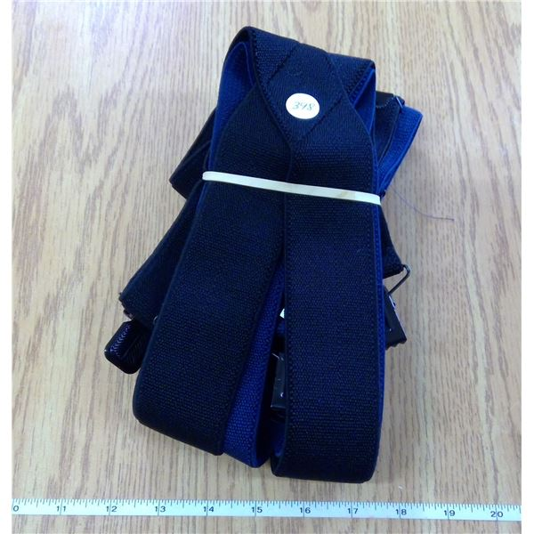 Two sets of Men's  adjustable suspenders - (Black & Purple)