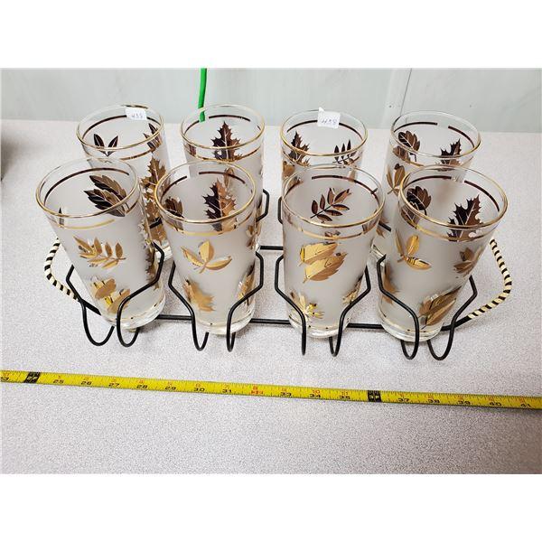 Set of 8 glasses in holder - 1950's