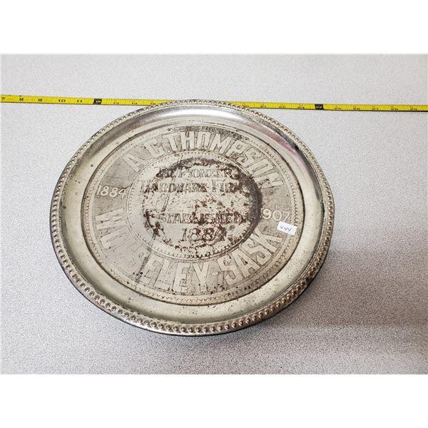 Plate - Pioneer hardware Wolseley, SK 1907