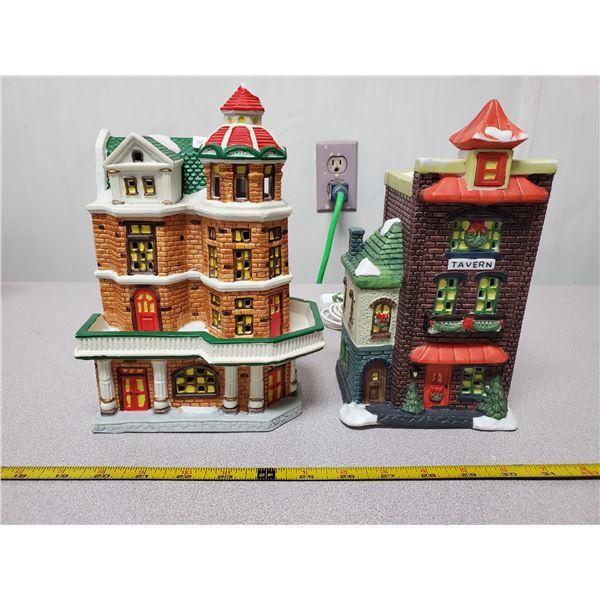 2 light up Christmas buildings