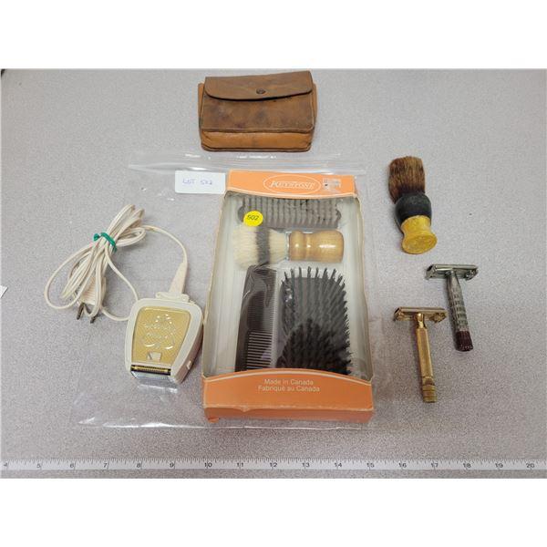 Two old razors, men's brush/comb set, Remington razor *works*